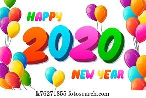 2020, jahreswechsel, design, karte, mit, f, luft, luftballone, fliegen, wei?, hintergrund., vektor, graffitikunst, illustration., frohes neues jahr, 2020, poster.