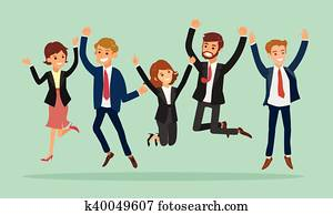 business people jumping celebrating success cartoon illustration