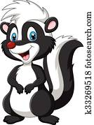 Cartoon skunk posing isolated