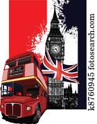 grunge, spruchbaender, mit, london, und, bus