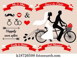 hochzeitspaar, auf, tandem fahrrad