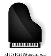 klavier, in, draufsicht