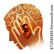 Man with cracked ear and head, symbolizing tinnitus and ear problems.