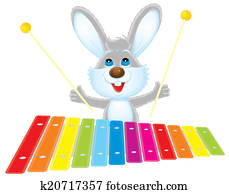 Rabbit with a xylophone