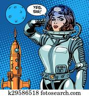 Woman astronaut captain of a spaceship science fiction