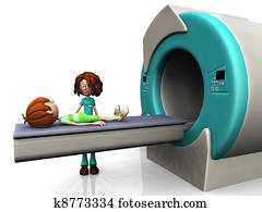 Cartoon boy getting an MRI scan.