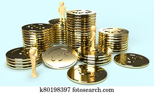 human wood and gold coins 3d rendering for business content.