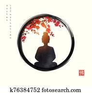 silhouette, von, meditieren, buddha, und, sakura, baum blüte, in, schwarz, enso, zen, circle., traditionelle, japanische, tinte, waschen, gem?lde, sumi-e., hieroglyphe, -, buddha