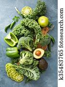 Variety of green vegetables