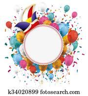 White Paper Emblem Balloons Confetti Carnival