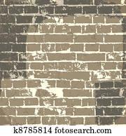 grunge, ziegelmauer, hintergrund, für, dein, message., vector,, eps10
