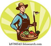 landwirt, mit, kleingarten, hacke, und, korb, nutzpflanze, ernte