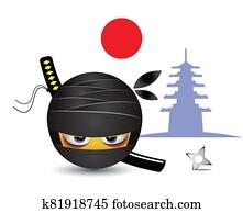 Smiley dressed as ninja
