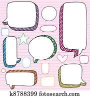 Speech Bubble Frames Doodles Vector