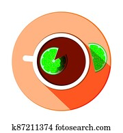 stylized tea cup vector icon with lemon slices with long shadow, top view