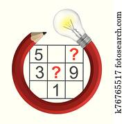 Sudoku Puzzle grid and creative Pencil with bulb.