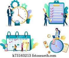 Task management concept vector isolated illustration set