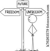 vektor, karikatur, abbildung, von, mann, darstellen, menschlich, zivilisation, oder, menschheit, w?hlen, zukunft, zwischen, freiheit, und, unfreedom