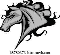 wildes pferd, oder, hengst, maskottchen