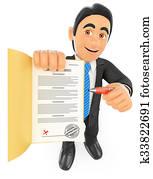 3D Businessman sign up