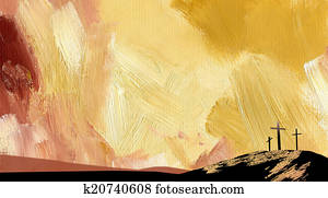 Graphic abstract background Calvary cross yellow