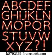 Set of broadway light bulb letters