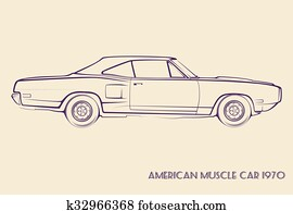 Clipart Of American Muscle Car Silhouette 70s K34787625 Search