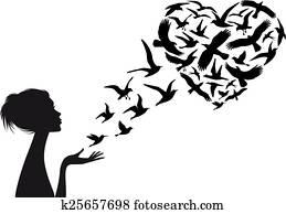 Heart shaped flying birds, vector