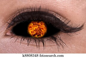 Illustration of magic eye with fire ball.