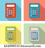 vector set of calculator icons. flat graphic style