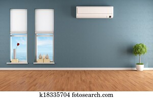 Blue empty room with air conditioner
