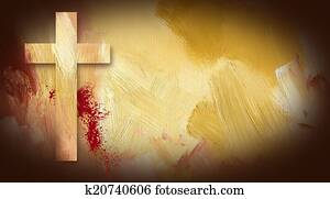 Calvary Cross Sacrificial Blood graphic on painted texture backg