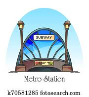Glassware building of metro station, train railway