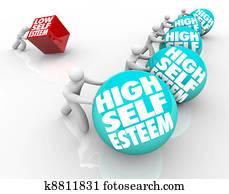 High Vs Low Self Esteem Losing Race of Confidence Attitude