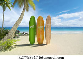 Surf boards on the beach