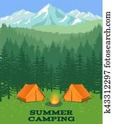 wald, camping, vektor, illustration., tourist, zelt, auf, lichtung
