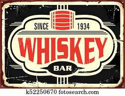 Whiskey bar vintage tin sign