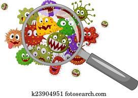 Cartoon bacteria under a magnifying