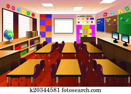 Empty classroom for elementary school
