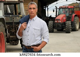 Farmer with tractors