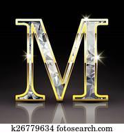 3d gorgeous diamond letter M