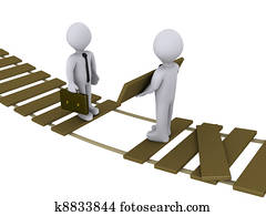 Businessman is helping another to cross a damaged bridge