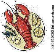 hummer, auf, a, dish., Seafood., vektor