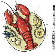 Lobster on a dish. Seafood. Vector