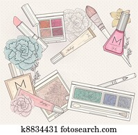 Makeup and cosmetics background