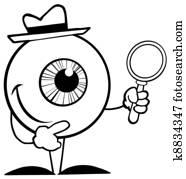 Outlined Detective Eyeball