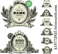 Vector Money Logo and Dollar Frame Set