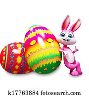 Easter bunny with colorful eggs