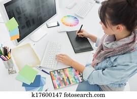 künstler, zeichnung, etwas, auf, graphische tablette, an, büro