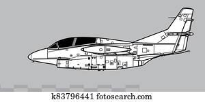 North American T-2 Buckeye. Outline vector drawing